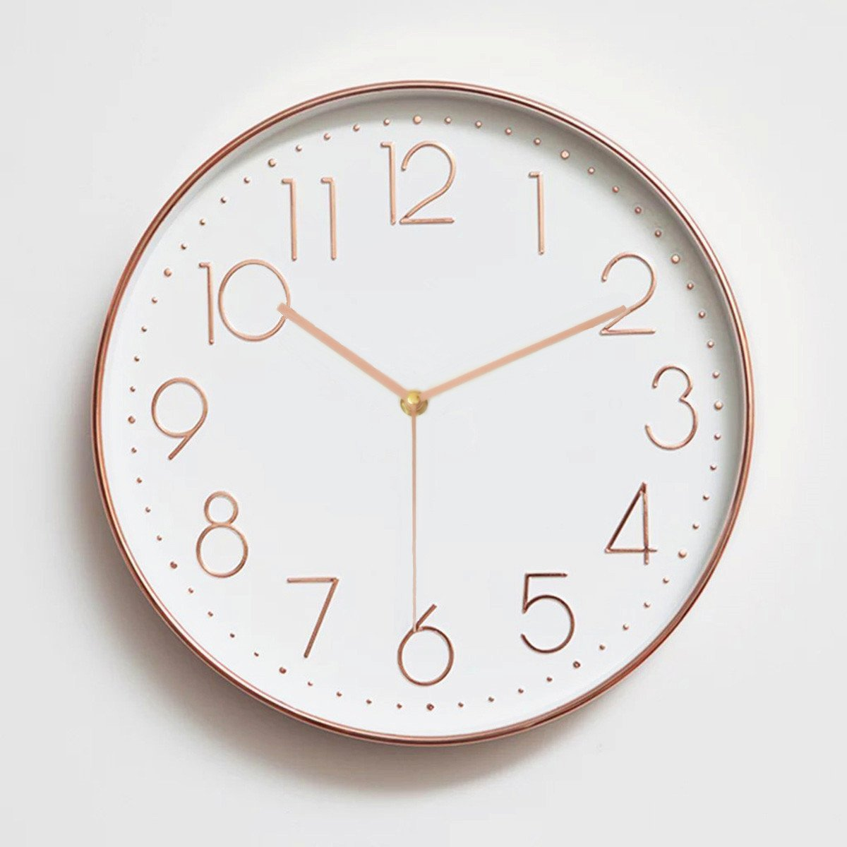Amazon wall clocks home kitchen foxtop 12 inch silent non ticking large decorative wall clock for kitchen living room bedroom office 30 cm rose gold amipublicfo Image collections