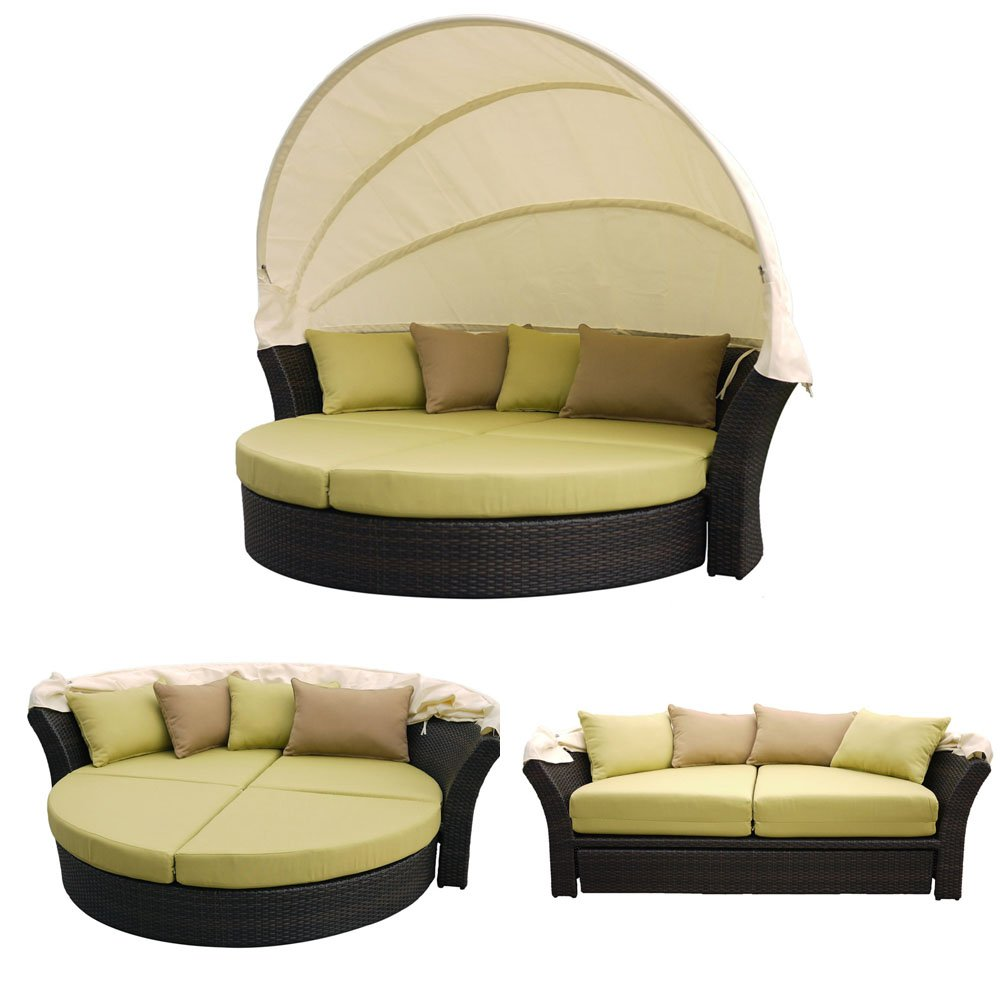 Martinique Outdoor Patio Canopy Bed with Hide-Away Footrest with Wicker Brown and Fabric Light Green by Outdoor Furniture Now