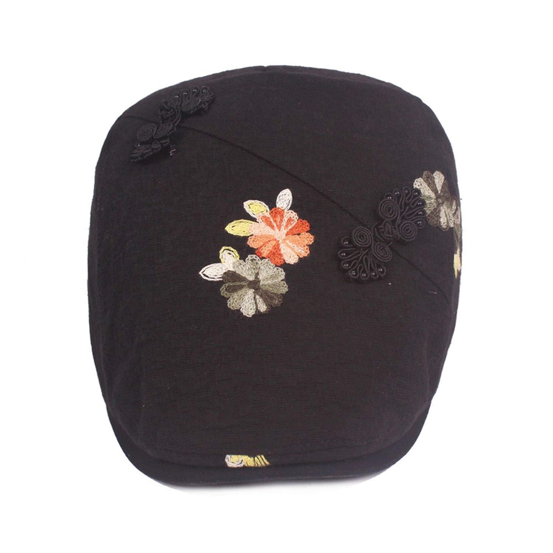 88655df2 Lady's Cotton Linen Ivy Cap Floral Decoration Women Beret Flat Newsboy Caps  Hats, Black, 55to60cm at Amazon Women's Clothing store: