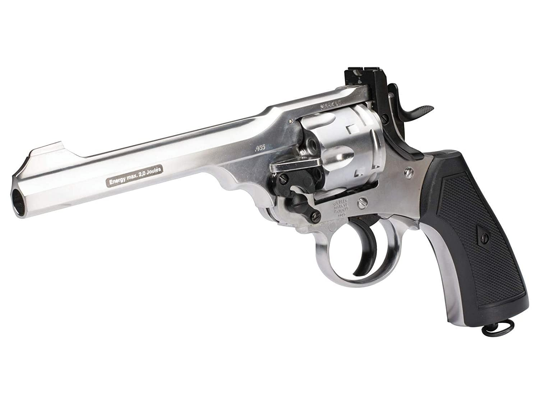 Webley MKVI CO2 Pellet Revolver Exhibition Silver air Pistol
