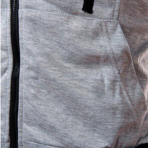 Vest Foncé Couleur T Amlaiworld Gris Tops Été Manches Zipper Hooded Blouse shirt Hommes Unie Sans Casual FwYZAq