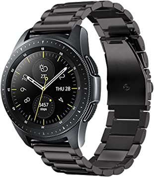 Fintie Correa Compatible con Samsung Galaxy Watch 3 (41mm)/Galaxy Watch Active2/Active/Galaxy Watch 42mm/Gear Sport/Gear S2 Classic - Pulsera de Repuesto de Acero Inoxidable, Negro: Amazon.es: Deportes y aire libre