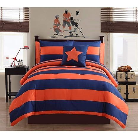6pc azul marino naranja Rugby, Rugby bolsa de cama juego de sábanas, deportes de