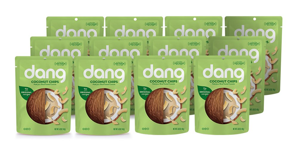 Dang Gluten Free Toasted Coconut Chips, Original, 1.43oz Bags, 1.43 Ounce (12 Count)