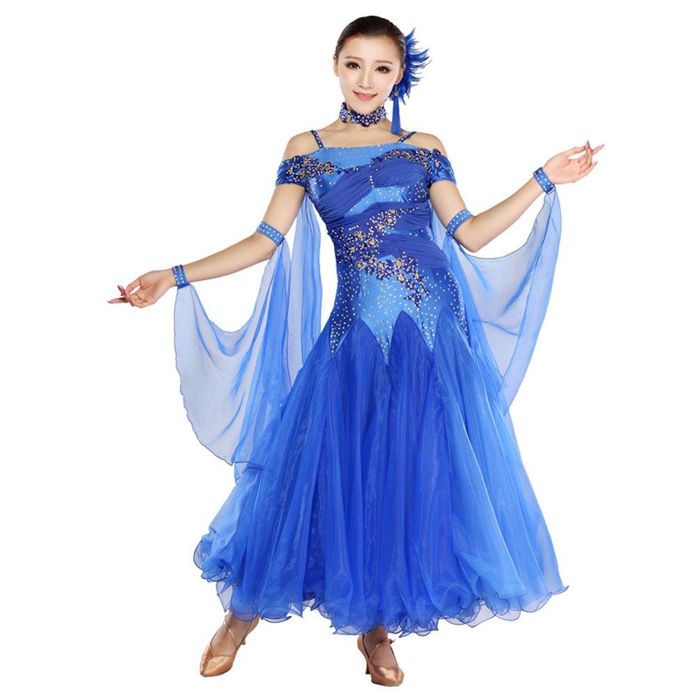 【通販激安】 女性の手刺繍モダンダンスドレスビッグ振り子スカート Small GB ダンスドレスダンスコンペティションパフォーマンスドレスラインストーンダンスコスチュームタンゴワルツスカート B07HHX2G85 B07HHX2G85 Small|Blue Small|Blue Blue Small, 子供服バケーション ベビー ブーケ:cd7bdcc0 --- a0267596.xsph.ru