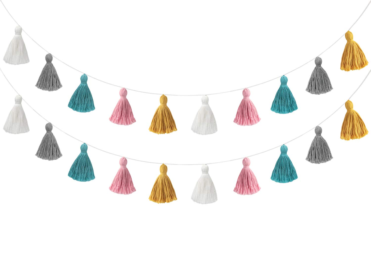 Mkono 2 Pack Cotton Tassel Garland Colored Tassels Banner Decorative Wall Hangings for Boho Home Decor, Birthday Party, Baby Shower, Nursey Room