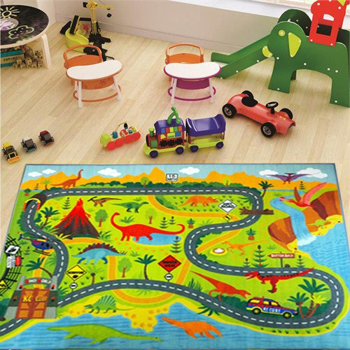 KC CUBS Playtime Collection Dinosaur Dino Safari Road Map Educational Learning & Game Area Rug Carpet for Kids and Children Bedrooms and Playroom (8'2'' x 9'10'') by KC CUBS (Image #1)