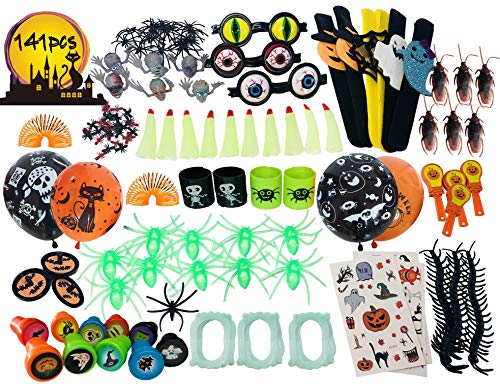 Halloween Goodie Bags (141pc Halloween Toys Party Favors Toy Assortment for Kids Bulk Toys,Classroom Rewards, Trick or Treating, Goodie Bags, Fools Toys Gift)