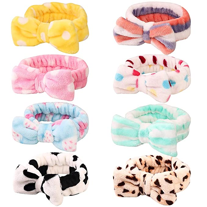 For Girl Pure Color Coral Fleece Bow Hair Band Wash Face Makeup Headband S3N6
