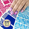 439 Nail Art Stencils Vinyl - 21 Different Shapes: Chevron, Heart, Square, French Tip & More Adhesives Stripe Guides Patterns Designs 3 Sheets Supplies Kit Stickers Tape Decals Craft Gift Teen Girl