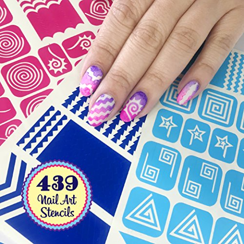 Nail Art Stencils Stickers Vinyl - 'Cyclone Collection' 439 Guides Kit - 21 Shapes: Chevron, Heart & More Adhesives Stripe Patterns Designs in 3 Sheets Supplies Tape Foil Decals Craft Gift