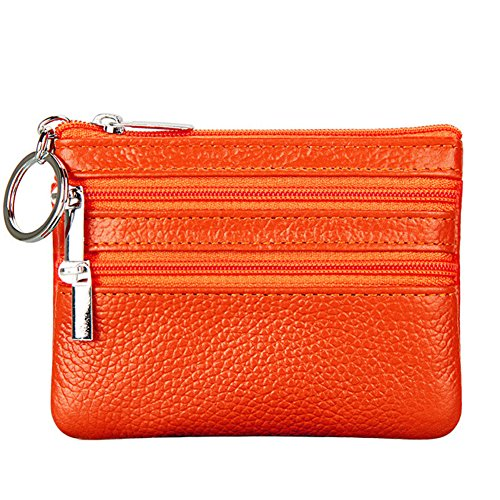 Women's Genuine Leather Coin Purse Mini Pouch Change Wallet with Key (Orange Grain)