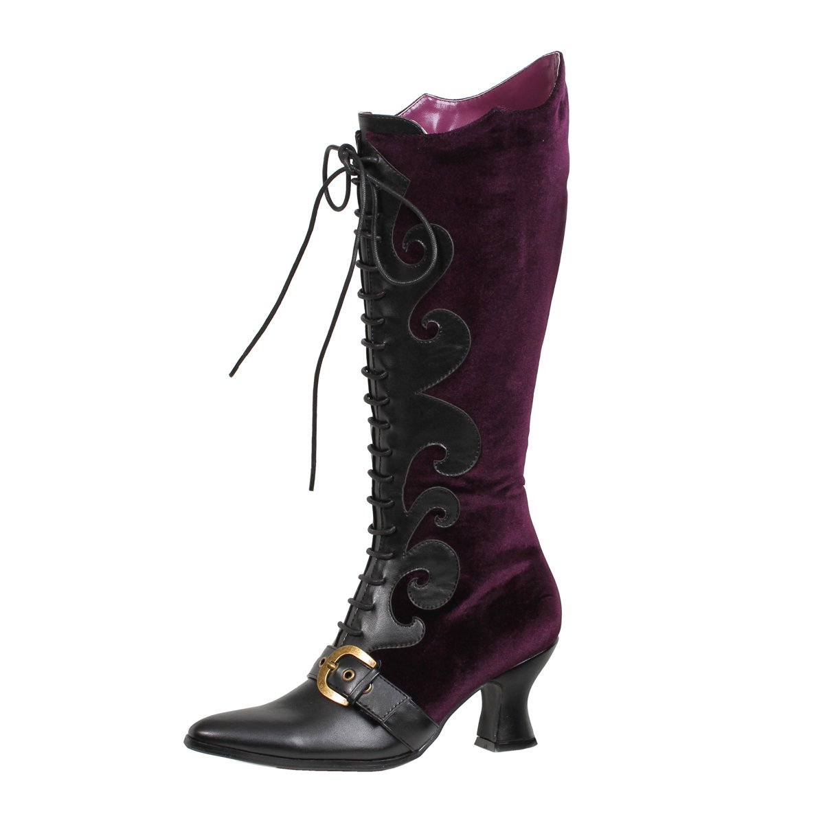 Women's Fancy Purple Knee-High Lace-Ups Victorian Boots - DeluxeAdultCostumes.com