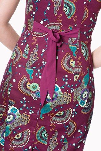 Pfau Dunkelrot Retro Floral Vintage Frankie Kleid 1qzz5wRXx