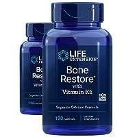 Life Extension Bone Restore With Vitamin K2, 120 Caps (2-Pack)