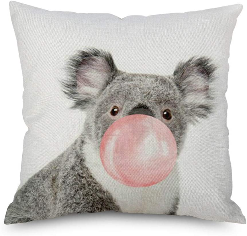 Throw Pillow Cover 18 x18 Cute Koala Bear Blowing Bubble Lovely Koala Pink Bubble Spring Summer Home Decor Invisible Zipper Durable Decorative Cushion Cover Pillow Case Sofa Couch Bedroom Living Room