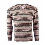 vmz fashion Men's Lightweight Slim Fit Faded Striped V Neck Sweater (Orange, Medium)
