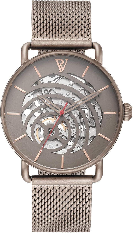 PAUL VALENTINE ® Reloj automático para Hombre con Correa de Malla de Acero Inoxidable - con Cristal de Zafiro - 40 mm de diámetro - Reloj Noble para Hombre con Mecanismo de Cuarzo japonés