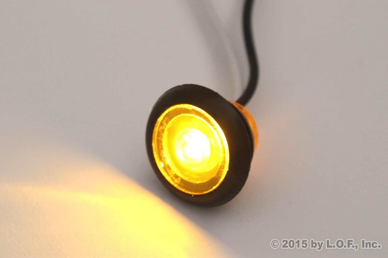 3//4 Inches Amber LED Amberance Side Marker Lights Truck Trailer Pickup Flush Mount 4