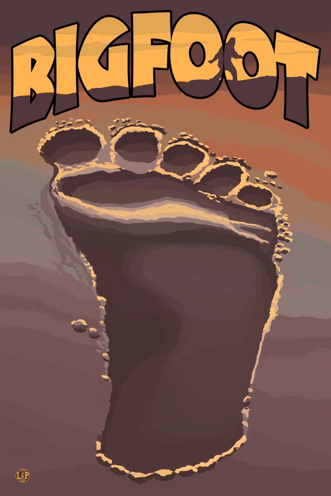 Bigfoot Footprint 12 x 18 Art Print LANT-20887-12x18 B00N5CNCSC  12 x 18 Art Print