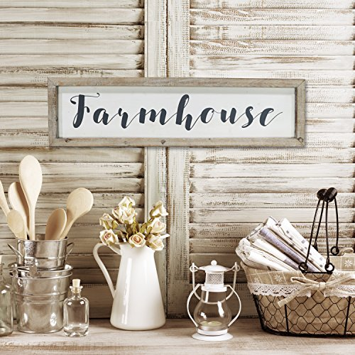 "Barnyard Designs Large Framed Farmhouse Sign Rustic Vintage Primitive Country Wall Decor 30"" x 8"