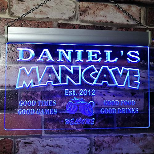 - ADVPRO x0012-tm-b Man Cave Bar Custom Personalized Your Name Established Date LED Neon Sign Blue 16x12 inches