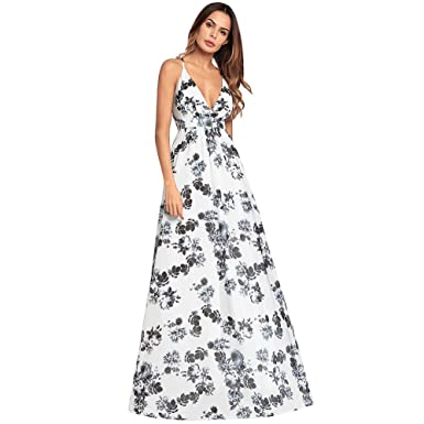 Taille Profonde Nuit Fleurs Blanches V Robe Impression Antaina Haute qSULpzMVG