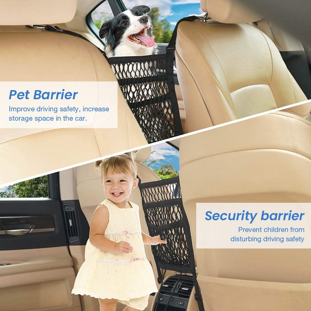meidong Car Mesh Organizer 3-Layer Dog Car Net Barrier Car Seat Storage Net Bag Cargo String Net Pouch Holder for Bag Luggage Pets Kids Barrier Disturb Stopper