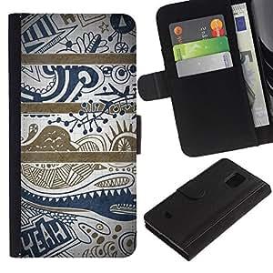[Neutron-Star] Modelo colorido cuero de la carpeta del tirón del caso cubierta piel Holster Funda protecció Para Samsung Galaxy S5 Mini (Not S5), SM-G800 [Texto azul Limpio Modelo bonito]