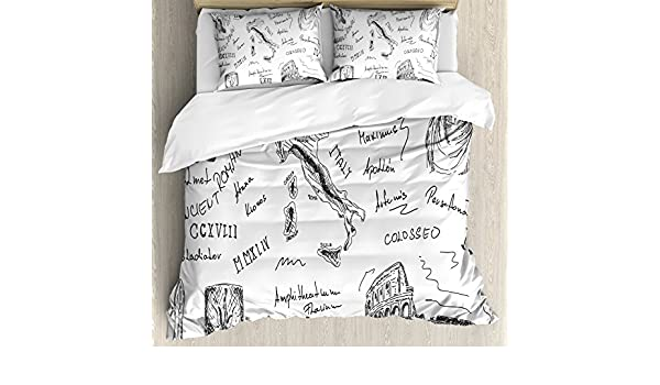 Amazon.com: Ambesonne Toga Party Queen Size Duvet Cover Set, Ancient Roman Period Icons Caesar Colosseum Gladiator and Map Sketch Art, Decorative 3 Piece ...