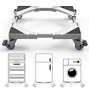 Multi-functional Movable Adjustable Base with 4pcs Locking Rubber Swivel Wheels Stent Durable Heavy Load 300kg Mobile Case Roller Dolly for Washing Machine,Dryer and Refrigerator