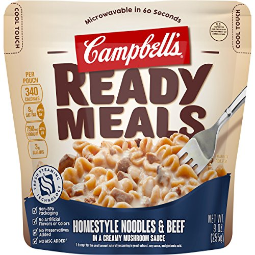 Campbell's Ready Meals, Homestyle Noodles & Beef in a Creamy Mushroom Sauce, 9 oz (Pack of 6)