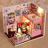 Flever Dollhouse Miniature DIY House Kit Creative Room With Furniture and Cover for Romantic Artwork Gift(Mood For Love)