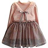 Vestido Bebe Niña Invierno, K-youth® Ropa Bebe Niña Cálido Bebe Chica Bowknot jerseys Patchwork Vestidos de Fiesta Princesa Tutú Para 2-7 años