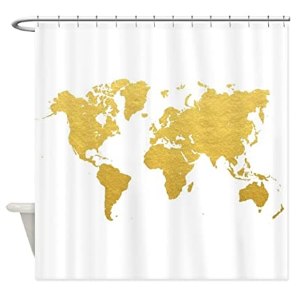 Image Unavailable Not Available For Color CafePress Gold World Map Decorative Fabric Shower Curtain