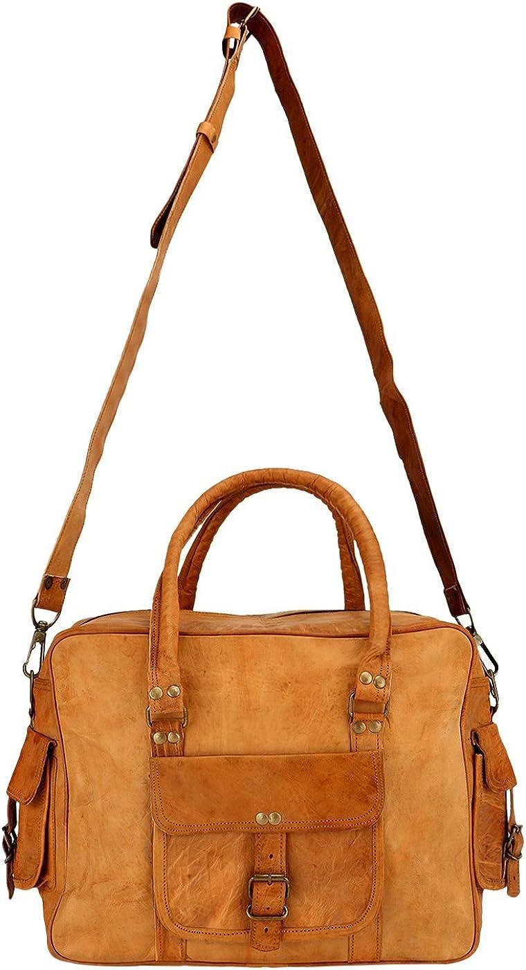 BROCODE 15 Inch Genuine Leather Handmade Vintage Rustic Crossbody Messenger Satchel Bag Gift Men Women ~ Carry Laptop Computer Book Rugged