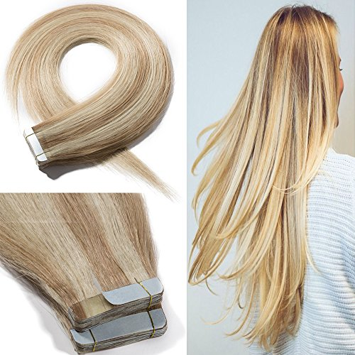 (16 Inch 100g Tape in Remy Human Hait Extensions 40Pcs Highlighted #18/613 Ash Blonde Mix Bleach Blonde Long Straight Hair Seamless Skin Weft Glue in Hairpieces Invisible Double Sided)