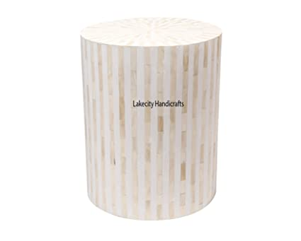buy popular 54359 541f8 Amazon.com: Bone Inlay Drum Side Table White Stripe: Kitchen ...