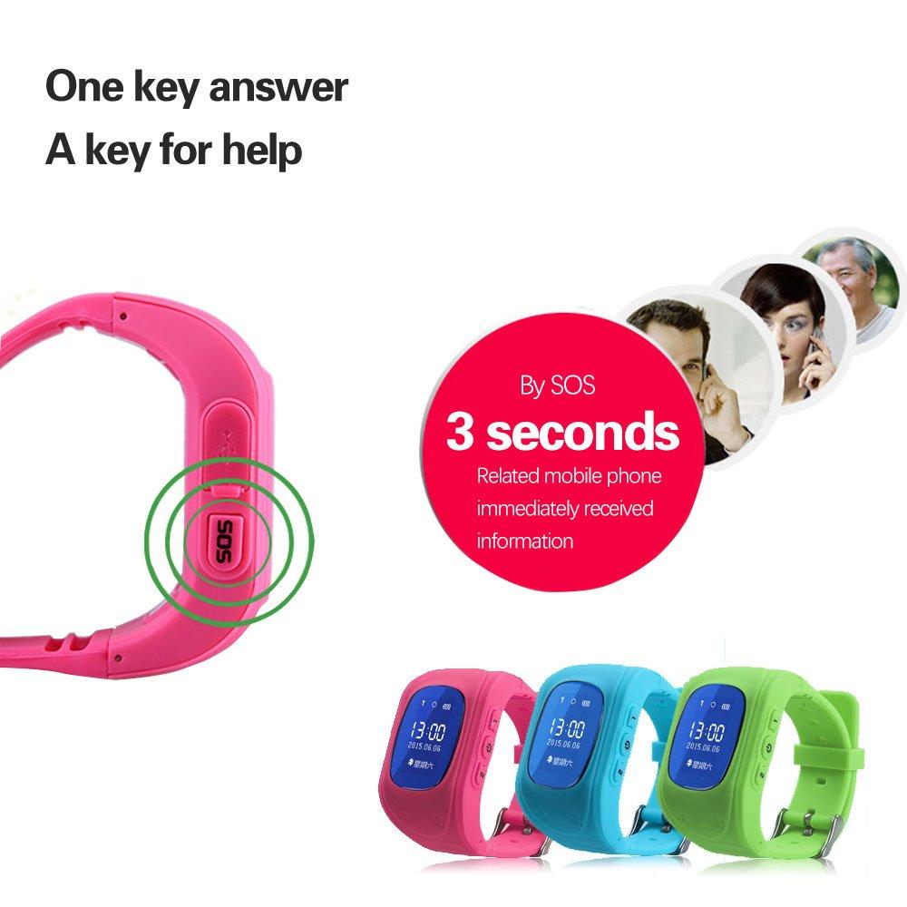 VANKER Reloj de teléfono inteligente Q50 niños Anti-perdido GPRS Tracker reloj para IOS y Android -- Azul: Amazon.es: Bebé