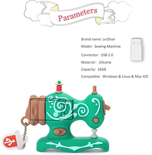 Embroidery Sewing Machine Flash Drive 32GB Gift USB Stick for Brother pe800,Epic Machines,PC and Mac,Seamstress USB Drive