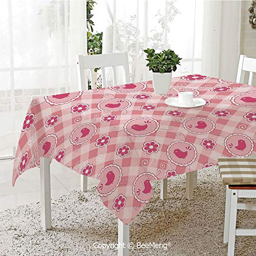 BeeMeng Large Family Picnic Tablecloth,Cheerful Composition with Cute Birds Daisy Flower Motifs Floral Swirls Decorative,Light Pink Hot Pink59 x 104 inches