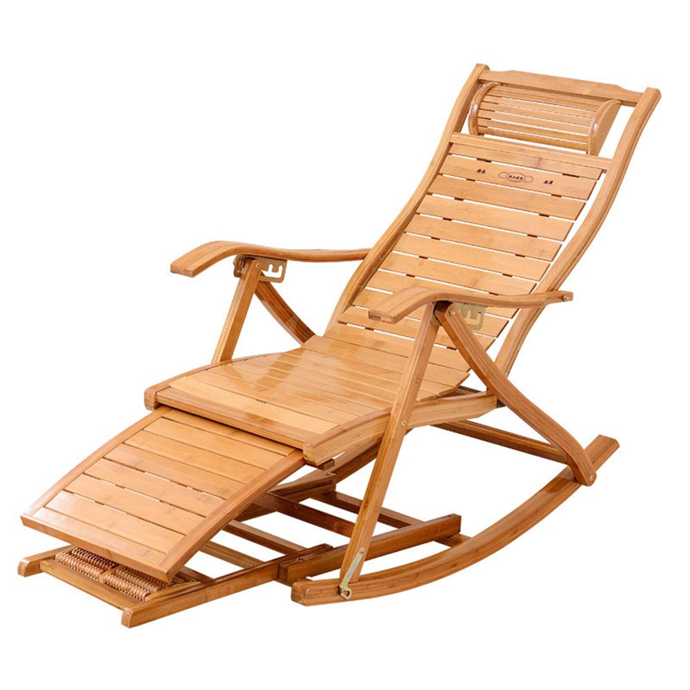 Rocking Chair, Garden Adjustable Folding Patio Armchair, Bamboo Material Comfortable Curved Backrest, Use With Garden, Outdoor B07T35YQZD Photo_Color