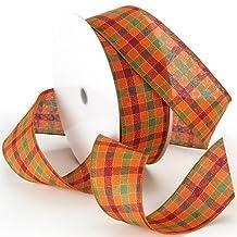 Morex Ribbon Autumn Plaid Wired Plaid Fabric Ribbon, 2-1/2-Inch by 50-Yard Spool, Orange