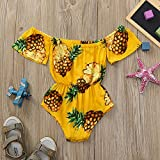 PLOT Baby Furit Print Girls Off-shoulder Outfits Clothes Romper Jumpsuit 0-24 M