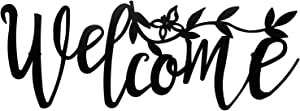 Indefree Welcome Wall-Decor Black-Metal Signs-Art Sculpture - Wall Mount Metal Wall Metal Sculpture for Java Shop, Bar, Living Room, Restaurants, Apartments,Home Decor