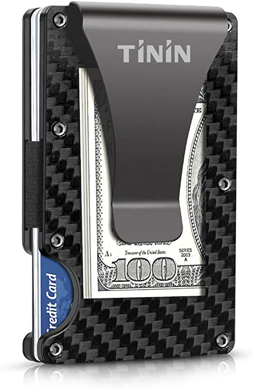 Carbon Fiber Wallet, Slim Money Clip & Minimalist RFID Blocking Front Packet