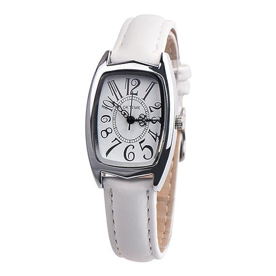 DressLksnf Reloj de Cuadro Lujo Moda de Mujer Pulsera Deportiva Acero Inoxidable Durable Correa de Cuero Digital Clásico Banda de Reloj Simple Cadena Ajuste ...