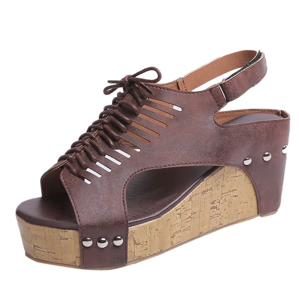 Darringls_Sandalias de Primavera Verano Mujer,Moda Sandalias Rebaño Grueso de tacón Alto Zip Sandalias Sólidas Peep Toe Zapatos Casuales Zapatos de Damas ...