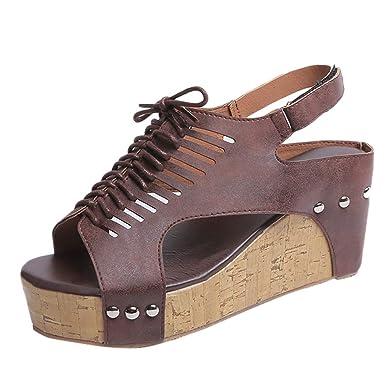 89499b00bbfd7 ... Rebaño Grueso de tacón Alto Zip Sandalias Sólidas Peep Toe Zapatos  Casuales Zapatos de Damas cómodas Zapatos de Playa  Amazon.es  Ropa y  accesorios