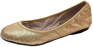 Quiz Glitter Flat Pumps, Ballerines Bout Fermé Femme, ( Gold 00), 38 EU